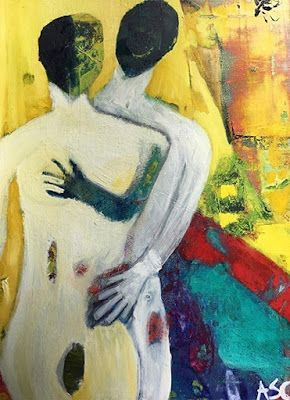 """Abstract Figurative, Contemporary Art, Abstract,Expressionism, Studio 9 Fine Art """"Imago"""" by International Abstract Artist Amanda Saint Claire"""