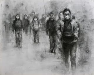 Ghosts - traffic pollution charcoal figure drawing on paper