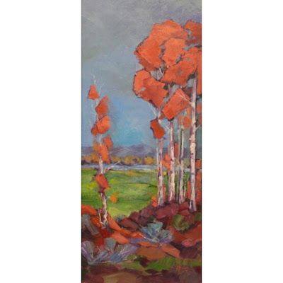 """Impressionist Landscape,Trees, Fine Art Oil Painting """"Hillside View"""" by Colorado Contemporary Fine Artist Jody Ahrens"""
