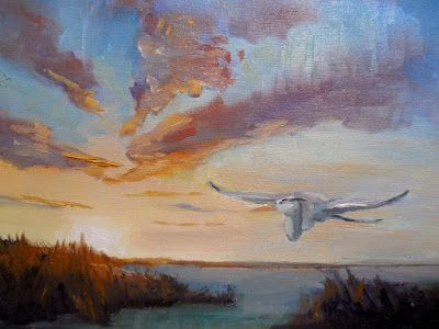 Sunset Painting, Heron Painting, Small Oil Painting, Daily Painting, 6x8