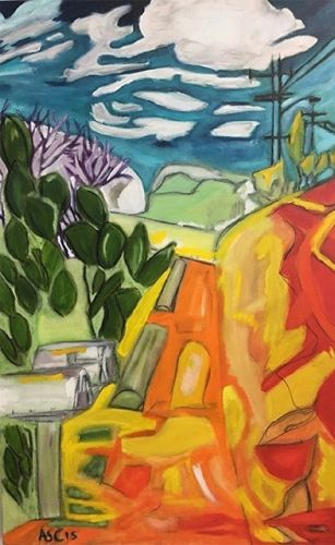 "Abstract Landscape, Contemporary Art, Abstract,Expressionism, Studio 9 Fine Art ""On the Way to Orpheus Park"" by International Abstract Artist Amanda Saint Claire"