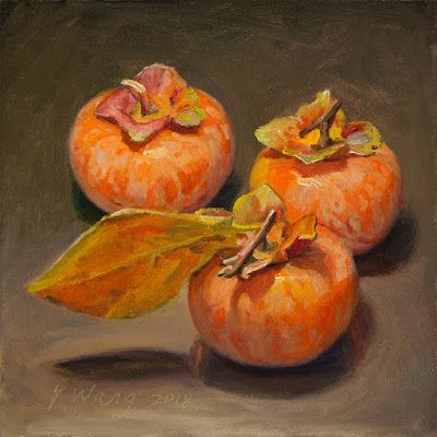 Three fresh persimmons, a painting a day still life oil painting original