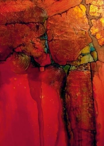 "Fine Art Print Colorful Contemporary Abstract Art ""Anasazi-Mini"" by Colorado Mixed Media Abstract Artist Carol Nelson"