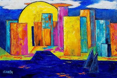 """Contemporary Cityscape Painting, Colorful Abstract """"Sunrise Over the City"""" by Florida Impressionism Artist Annie St Martin"""