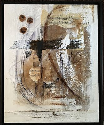 """Mixed Media Art, Collage, Contemporary Art """"Music Notes I"""" by Texas Contemporary Artist Sharon Whisnand"""