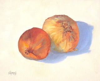Onions, 7x5 Oil Painting on Canvas Panel Still Life