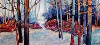"Mixed Media Abstract Landscape Painting ""Frosty Morning"" by Colorado Mixed Media Artist Carol Nelson"