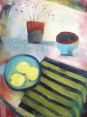 "Bold Expressive Still Life Flower Art Painting ""Three Lemons"" by Santa Fe Artist Annie O'Brien Gonzales"