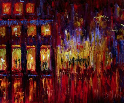 "Impressionist Street Scene Art Cityscape Painting Oil on Canvas Night Paintings ""Red Corner"" By Debra Hurd"