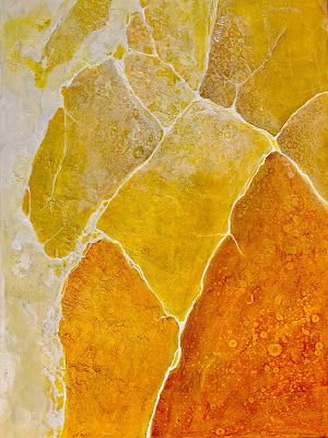 "Mixed Media Geologic Abstract, ""Yellow Yellow"" , 081419, © Carol Nelson Fine Art"