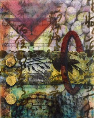 "Mixed Media Abstract Painting, Contemporary Art ""Layers of Fun"" by Santa Fe Contemporary Artist Sandra Duran Wilson"