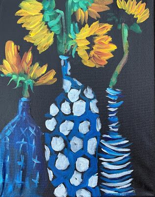 "Expressive Still Life Floral Painting, Colorful Original Flower Art, ""MEET THE WONKIES"" by Texas Contemporary Artist Jill Haglund"