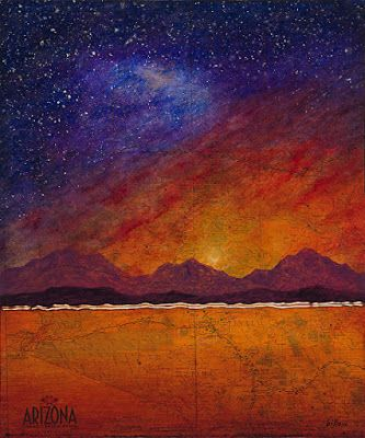 """Contemporary Map Art """"ARIZONA MAP MILKYWAY OVER GRAND CANYON"""" by Contemporary Artist Brian Billow"""