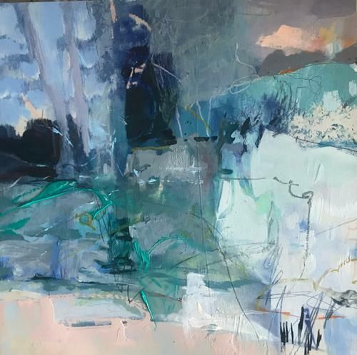 """Contemporary Mixed Media Painting """"Winter's Dawn"""" by Intuitive Artist Joan Fullerton"""