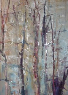 "Contemporary Abstract Landscape Painting ""Winter Bones"" by Intuitive Artist Joan Fullerton"