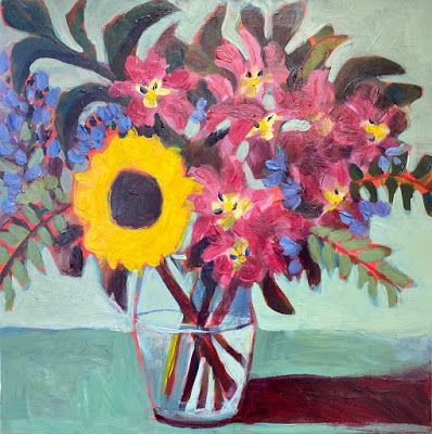 "Contemporary Bold Expressive Still Life Flower Art Painting, ""Last Sunflower "" by Santa Fe Artist Annie O'Brien Gonzales"