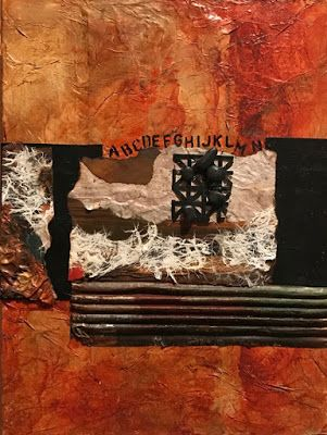 "Contemporary Painting, Mixed Media Art, Textured Art, Collage ""A LESSON IN GEOGRAPHY"" by Florida Contemporary Artist Mary Ann Ziegler"
