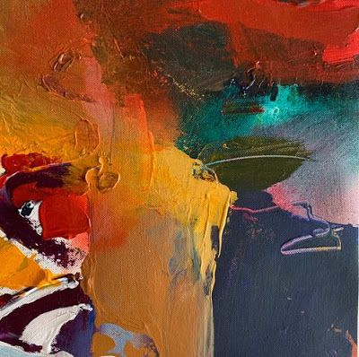 "Abstract Painting, Contemporary Art ""A NEW ATTITUDE"" by Intuitive Artist Joan Fullerton"