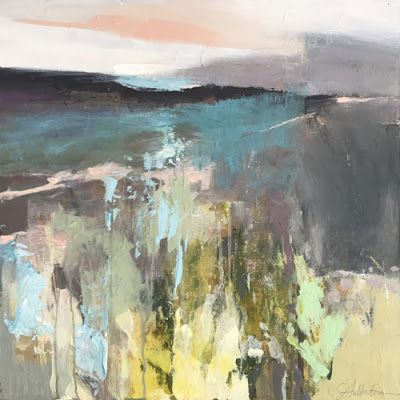 "Contemporary Abstract Landscape Art Painting, ""ROAD TO UNSEEN DESTINATION"" by Intuitive Artist Joan Fullerton"