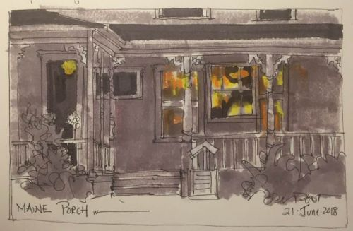 """Day 255 """"Maine Porch"""" 5 x 9 ink, markers, pastel"""