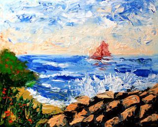 Mark Webster - Abstract Seascape Palette Knife Painting 32911