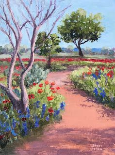 Poppy Trails, New Contemporary Landscape Painting by Sheri Jones