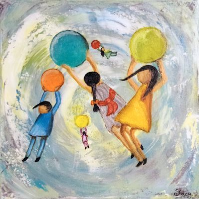 """Contemporary Art, Painting of Children, Figurative Painting """"Woosh"""" by Arizona Artist Pat Stacy"""