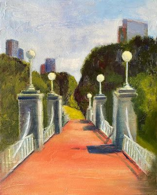 """Contemporary Landscape Painting, Bridge """"Swan Crossing"""" by California Artist Cecelia Catherine Rappaport"""