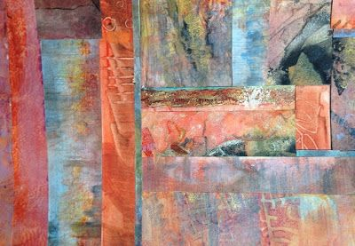 "Abstract Mixed Media Art, Contemporary Painting, ""COLUMNS FROM MY PALETTE"" by Florida Contemporary Artist Mary Ann Ziegler"