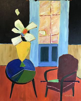 """Interior View, Flower Painting, Expressionist Floral,Painting, Still Life """"Yellow Vase"""" by Oklahoma Artist Nancy Junkin"""