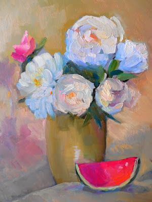 Peony Still Life Giclee, Daily Painting, Small Oil Painting, 14x18x1.5