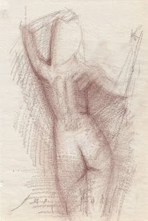Standing and sitting female nude sk