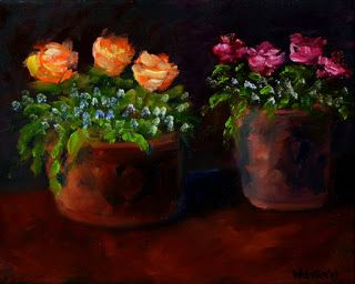Mark Webster - Flower Still Life Oil and Acrylic Painting 112709