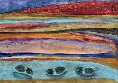 "Contemporary Abstract Landscape Painting on Paper ""PAJARITO MOUNTAIN"" by Santa Fe Contemporary Artist Sandra Duran Wilson"