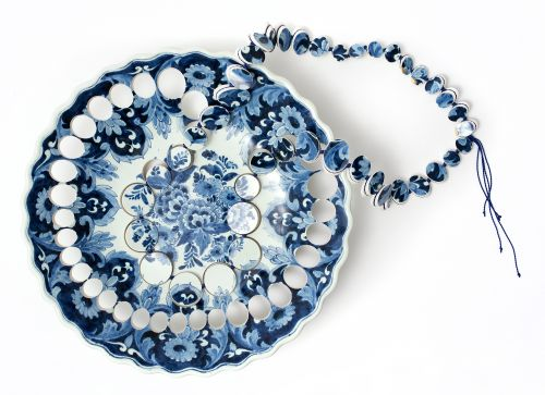 Discs Extracted from Antique Porcelain Become Delicate Jewelry by Gésine Hackenberg