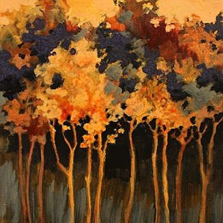 """Abstract Landscape Tree Art Painting """"Twilight Poem"""" by Colorado Mixed Media Abstract Artist Carol Nelson"""