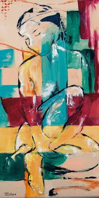 """""""Contented"""" - Abstract Figurative Painting by Arizona Artist, Sharon Sieben"""
