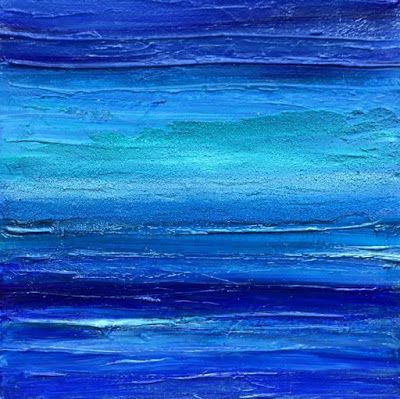 """Mixed Media Abstract Seascape Painting """"DEEP BLUE SURF I"""" by California Artist Cecelia Catherine Rappaport"""
