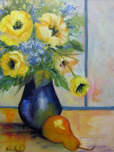 Yellow Poppies and A Pear, Still Life, Oil painting, Barbara Haviland