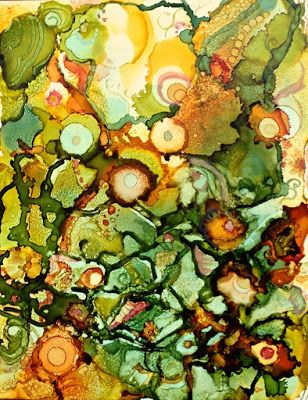 """Alcohol Inks, Contemporary Abstract Art Painting, """"CUCUMBERS AND MELONS"""" by New Orleans Artist Lou Jordan"""
