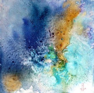"Original Watercolor, Contemporary Abstract Painting ""NOVA"" by Richmond Artist Lou Jordan"