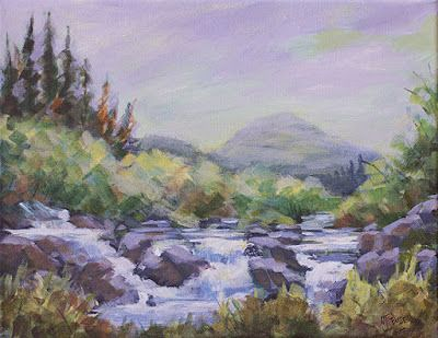 "Impressionist Landscape Painting, Water,Stream ""UP ON SCOFIELD PASS"" by Painter of the American West, Nancee Jean Busse"