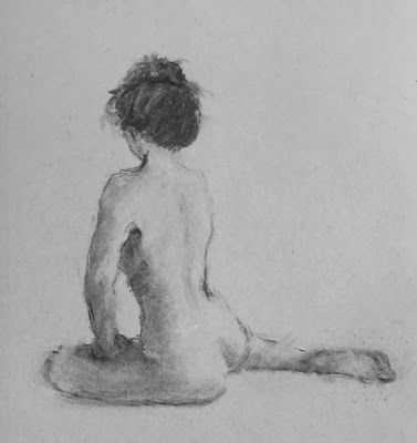 Seated Nude - charcoal drawing of a nude model by Connie Chadwell