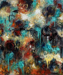 """Abstract Art Colorful Painting Texture Paintings Layers Turquoise Gold Black """"Passages"""" by Debra Hurd"""