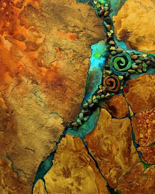 "Mixed Media Geologic Abstract Fine Art Print ""Artifacts 2"