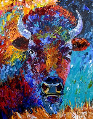 "Bison Painting, Buffalo, Contemporary Wildlife, Palette Knife Oil Painting ""The Wild"" by Texas Artist Debra Hurd"