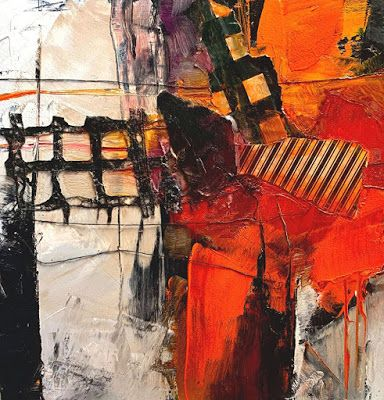 "Oil and Cold Wax Abstract Painting, ""Crossroads 2"" by Carol Nelson Fine Art"