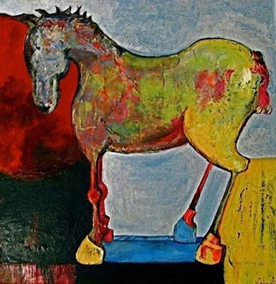 """Mixed Media Horse Art ,Equine Painting """"Toy Horse"""" by California Artist Cecelia Catherine Rappaport"""