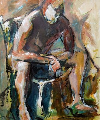 """""""Decision"""" - Moody Male Nude - Abstract on Gallery Wrap Canvas by Arizona Artist, Sharon Sieben"""