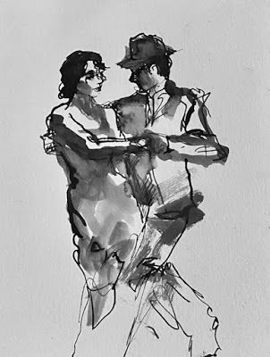Ink Dancers 3 - original ink drawing of tango dancers